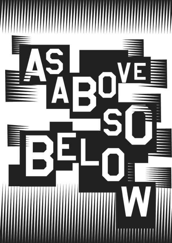 as above so below in cut out uneven text