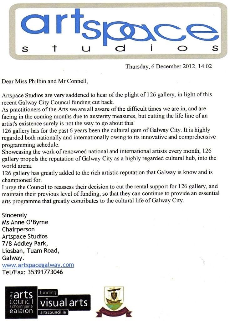 letter of support from artspace galway